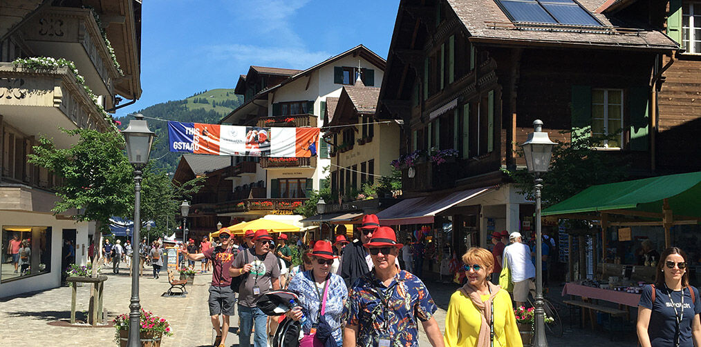 Clubbies wlaking in Gstaad streets
