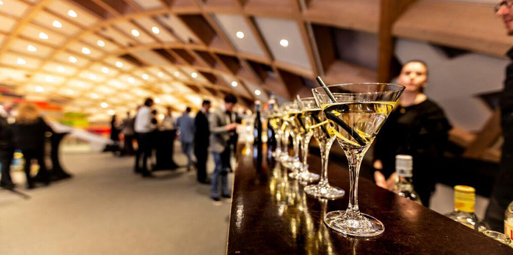 Martini glasses for guests