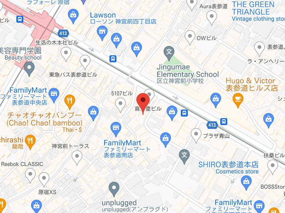 Map to Harajuku Store