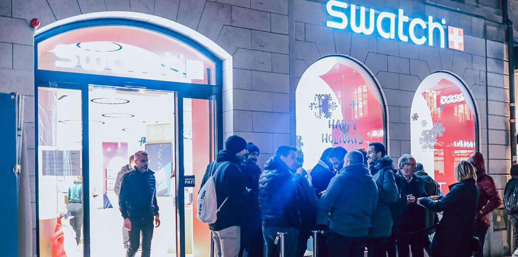 Geneva Store entry with guests waiting in front