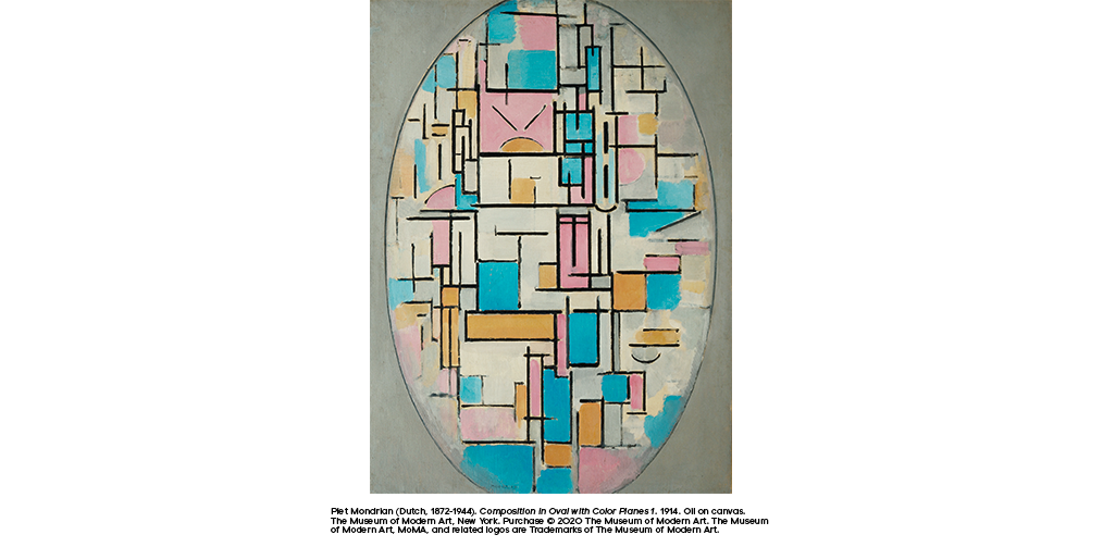 Composition in Oval with Color Planes 1 (1914) by Piet Mondrian